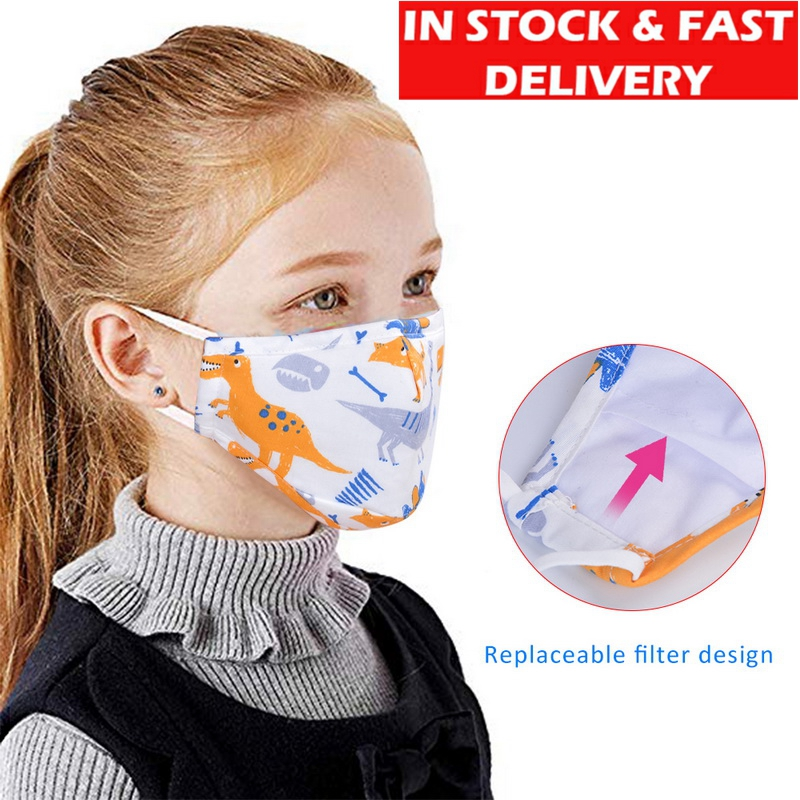 IN STOCK 3pcs Face Mask Children Anti-Bacteria Dust Masks Cartoon Disposable Prints Cute Boy Girl Breathable Anti-Pollution Mask