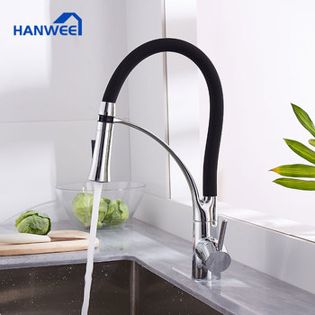 Black Chrome LED Kitchen Sink Faucet Pull Down Kitchen Faucet Sink Tap Mounted Deck Bathroom Mounted Swivel Hot Cold Water Mixer pull out sprayer kitchen faucet chrome deck mounted 360 degree luxury white hot and cold stream water mixer bathroom tap sink