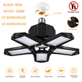 LED Five Leaf Garage Light Foldable Garage Ceiling Lamp Deformation Basement Indoor Outdoor Deformation High Bay Light