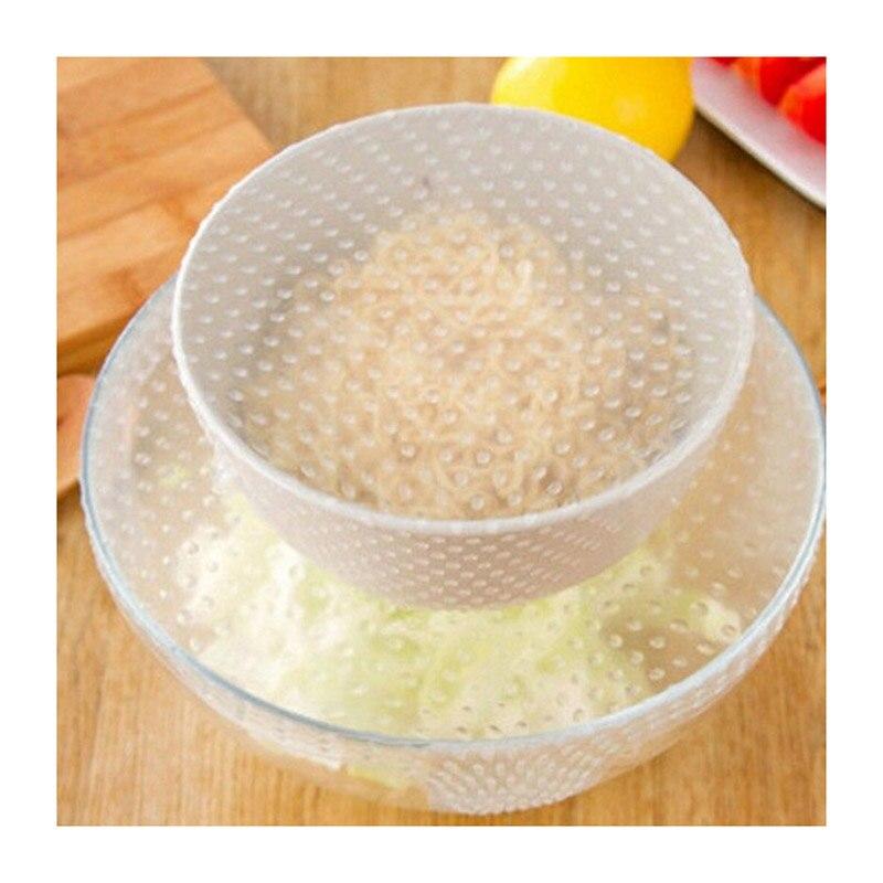 Растягивающаяся и свежая 4 шт. силиконовая пищевая обертка Многофункциональная крышка для мисок кухонные аксессуары TS2