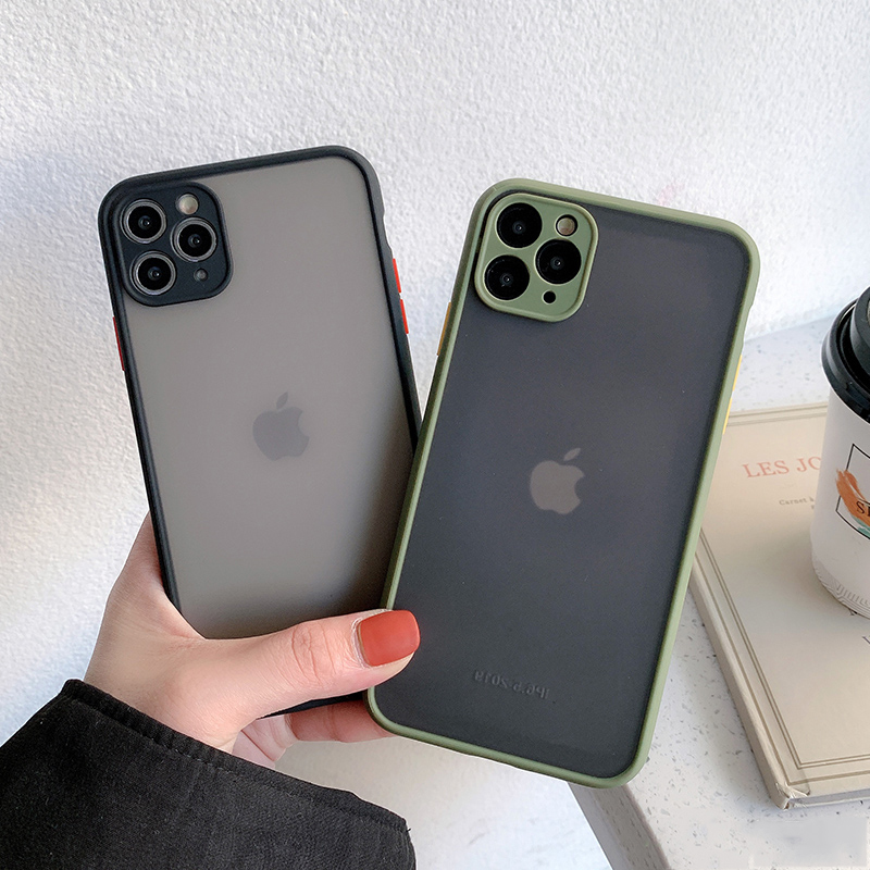 Matte Translucent Camera Protection Bumper Phone Cases For iPhone 11 11 Pro Max XR XS 7