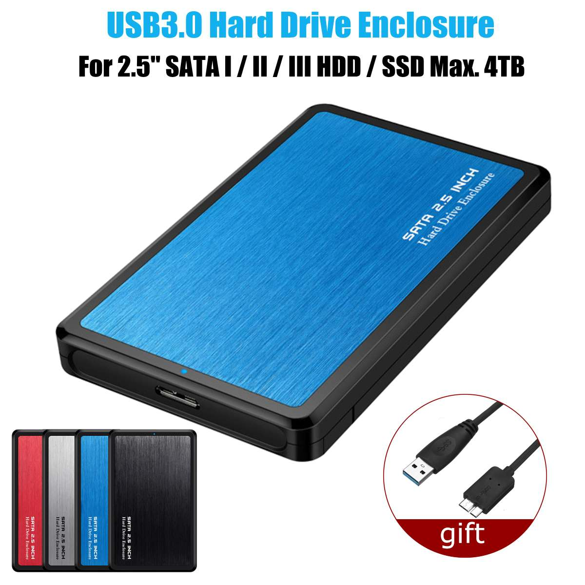"4TB SSD 2TB HDD 2.5/"" inch USB3.0 SATA Hard Drive Enclosure External Case for PC"