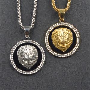 Прямая поставка, кулон в стиле хип-хоп с микрозакрепкой, кубический циркон, голова льва, золотой цвет, Очаровательное ожерелье для мужчин, юв...