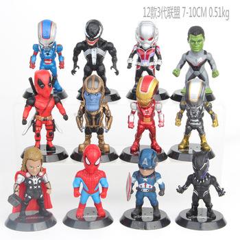 12 sztuk zestaw Marvel Avengers Deadpool Thanos Ironman Spiderman Thor jad ant man Hulk czarna pantera model figurki zabawki tanie i dobre opinie ZHAOKAOFEI Puppets Żołnierz gotowy produkt Żołnierz części i podzespoły elektroniczne Żołnierz zestaw Wyroby gotowe