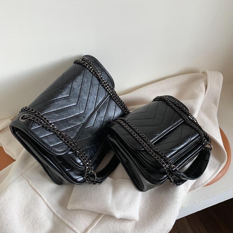 Vintage Fashion Female Square Bag 2019 New High Quality Oil Leather Women's Designer Handbag Chain Shoulder Messenger Bag Purses