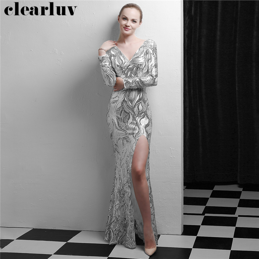 Long Evening Gowns Long Sleeves Sequined Robe De Soiree DX336-3 2020 Formal Party Gown Silver Sexy V-Neck Women Evening Dresses