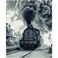 Картина по номерам DIY, дропшиппинг 40x50 60x75 см, ретро черный паровой поезд, натюрморт, холст, свадебное украшение, картина, подарок