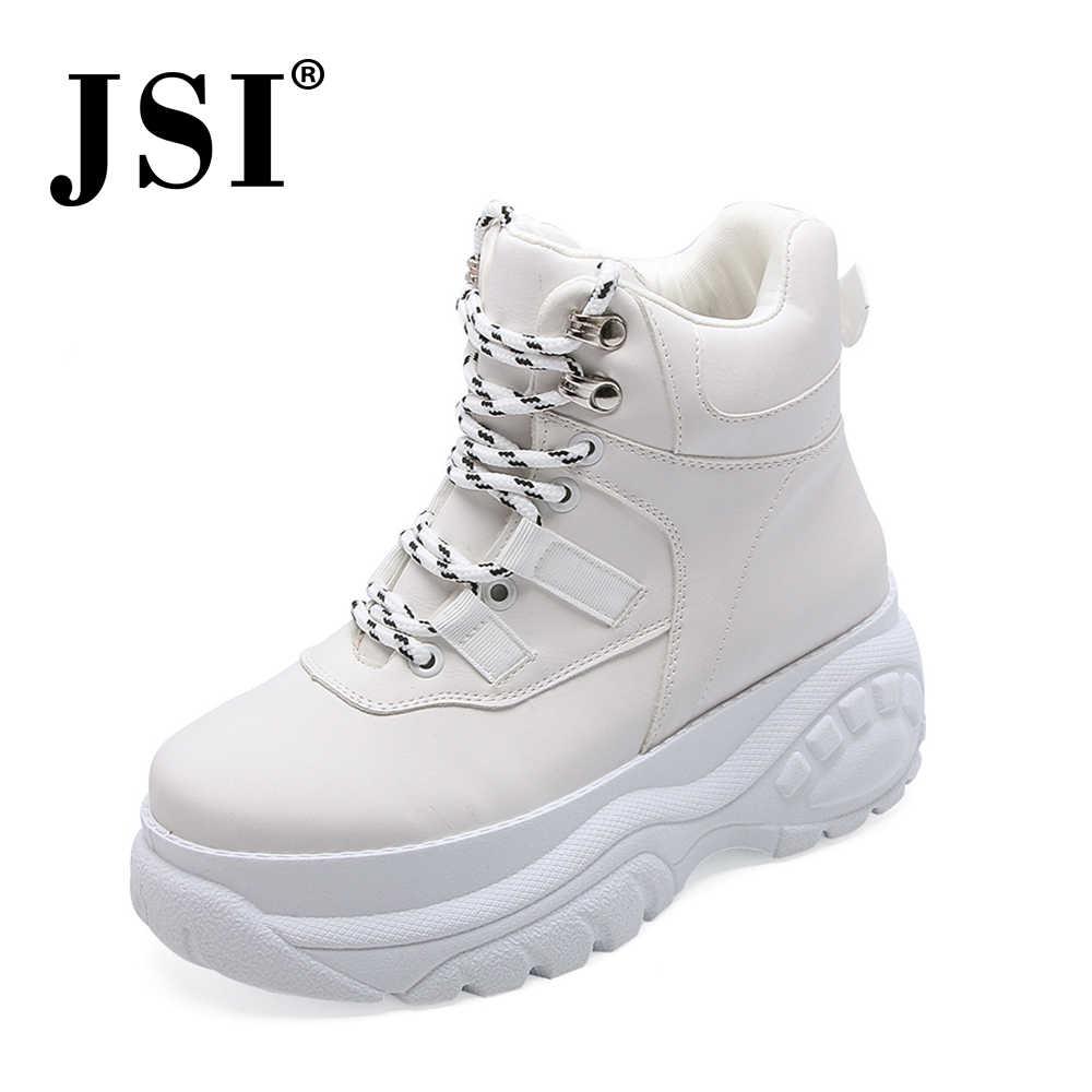 JSI Rắn Mũi Tròn Giày Nữ Cột Dây Microfiber Căn Hộ Cao Hàng Đầu Chun Nền Tảng Giày Nữ Jx41