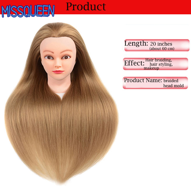 MISSQUEEN Training Head Hairdressers 60cm Hair Synthetic Mannequin Head Hairstyles Female Mannequin Hairdressing Styling