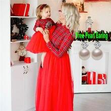 Mãe e filha vestidos de natal mãe e me família combinando roupas de inverno meninas vestido xadrez mãe e filha vestido