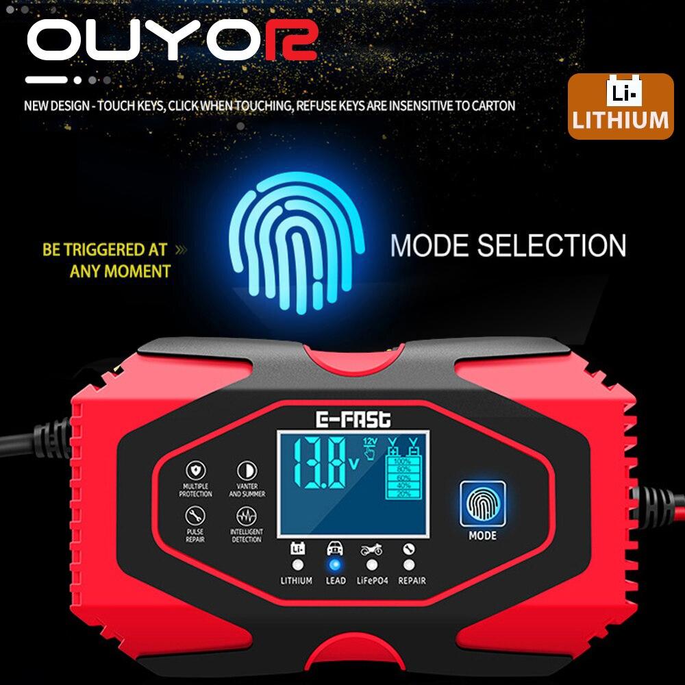 Зарядное устройство для автомобильных аккумуляторов, 12 В, 24 В, с ЖК-дисплеем