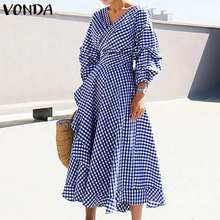 Office Ladies Dress Vintage Dot Printed Dress 2020 Summer Women Casual Loose Beach Party Sundress Plus Size Vestidos S-5XL(China)