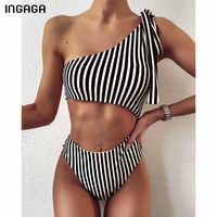 INGAGA-bañadores de una pieza con un hombro al descubierto para mujer, traje de baño a rayas, Monokini de corte alto, ropa de baño con lazo, 2021