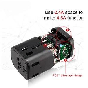 Image 3 - Adaptador de viaje internacional, enchufes multienchufe, 2 fusibles, protección, adaptador Universal, salidas, Cargador USB Dual, puertos de carga tipo C