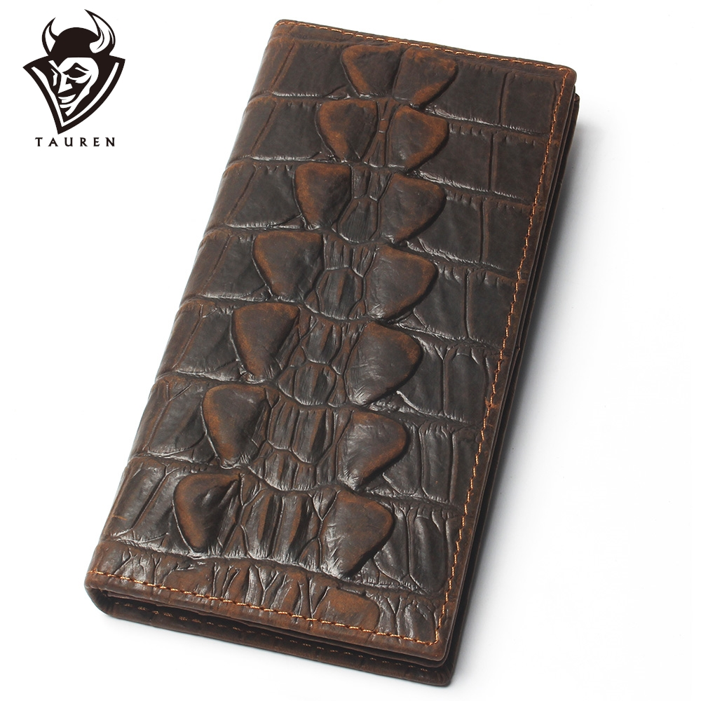 Mens Crocodile Tail Wallet Crazy Horse 100% Genuine Leather Purse Top Grade Soft Long Wallet Branded Coin Purse For Men