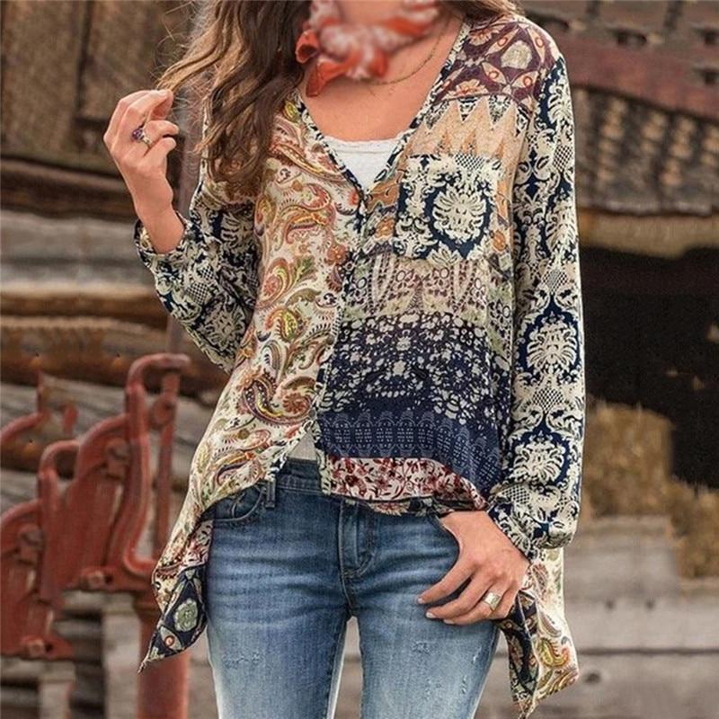 Теплые блузки из смесового хлопка, женские винтажные рубашки с длинным рукавом, весенние и осенние женские блузки с v-образным вырезом и