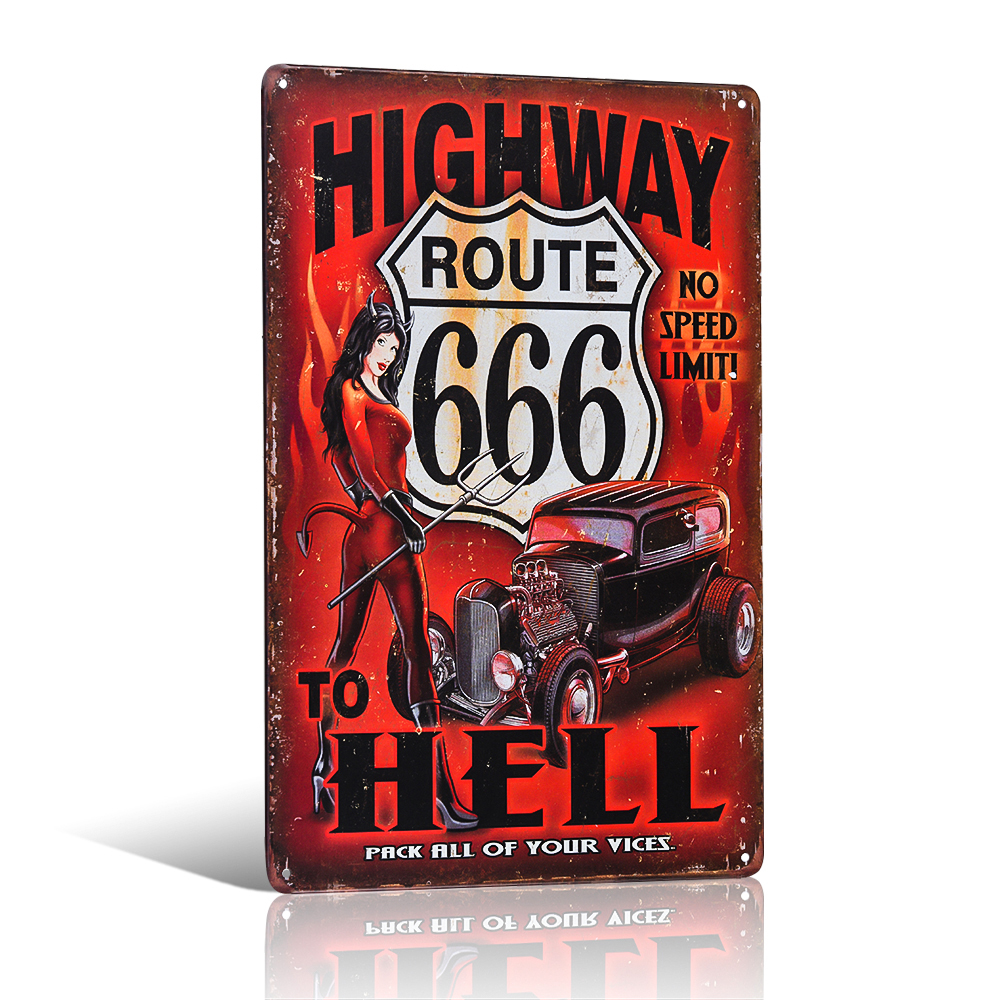 """Route 66 Highway to Hell Devil"" Pin up girl Vintage Metal Poster Plechová cedule Nástěnná deska Garáž Bar Hospoda Sign Home Wall Decor"