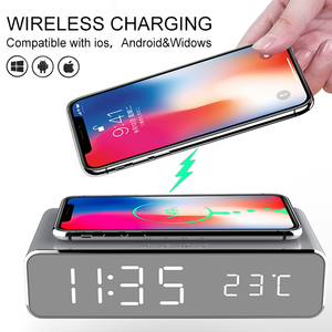 New Electric LED Alarm Clock With Mobile Phone Wireless Charger HD Clock Mirror With Time Memory Digital Thermometer Clock