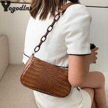 Mini sacs à main en cuir PU Crocodile pour femmes, sacs à bandoulière avec chaîne, bourse de voyage, Baguette, 2021