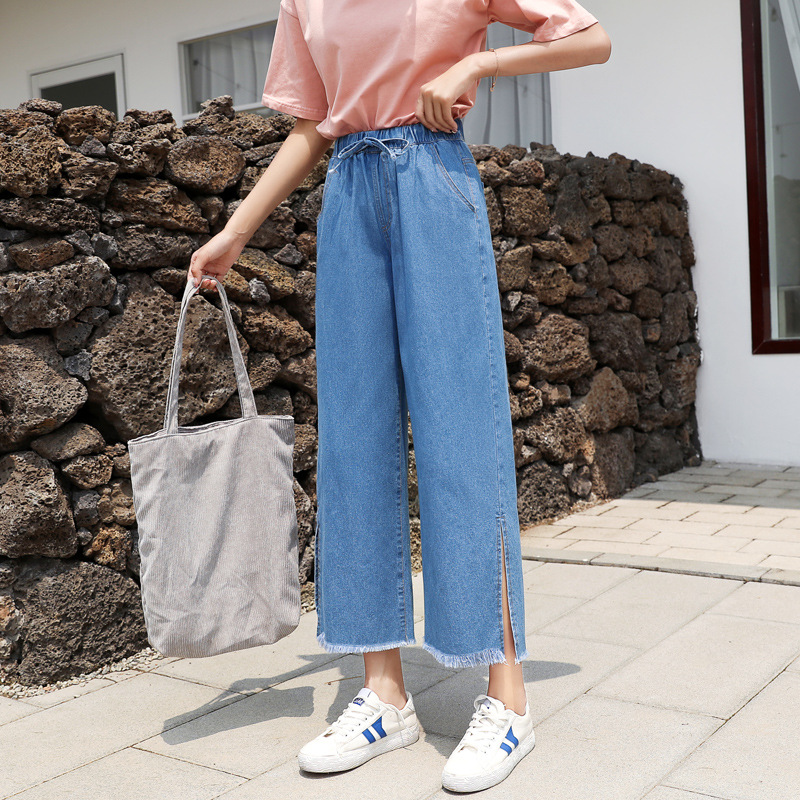 Photo Shoot Loose-Fit Wide-Leg Versatile Capri Jeans Women's Summer Thin Section 2019 New Style BF Korean-style High-waisted Stu