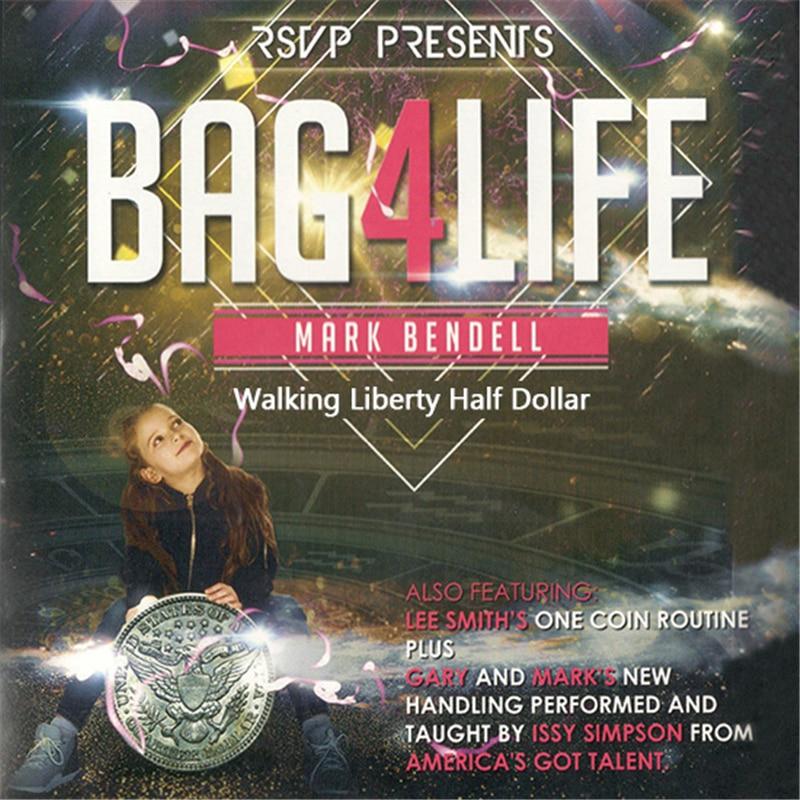 Bag4Life (1 Walking Liberty Half Dollar Coin and DVD) Magic Tricks Stage Close Up Magia Mentalism Illusion Gimmick Props Magica