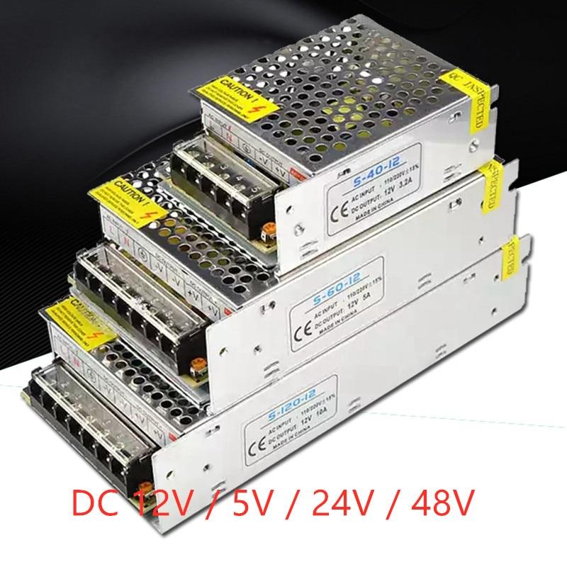 Switching Power Supply Light DC 5V 12V 24V 1A 2A 3A 5A 10A 12A 15A 20A 30A 40A Power Supply Source Adapter For LED Strip Light