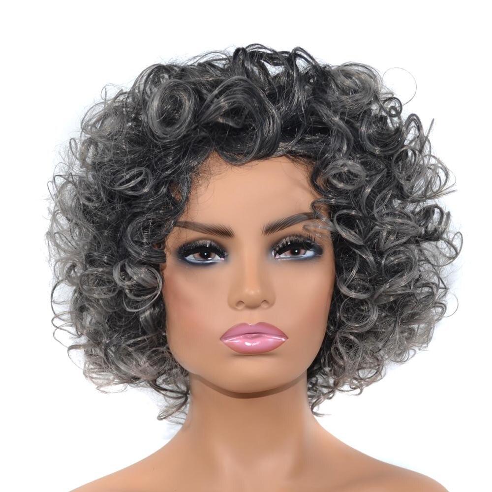 ZM волосы черный глубокий молочный серый парик головной убор короткий большой рулон взрывоопасная головка Африканский головной убор пушистый рулон парик женский головной Убор|Синтетические парики без сеточки| | АлиЭкспресс