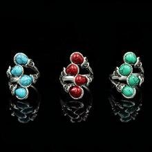 Anillo clásico de aleación de piedra Natural Azul Rojo verde para mujer joyería de fiesta de playa personalidad anillo Vintage bohemio regalo de mamá