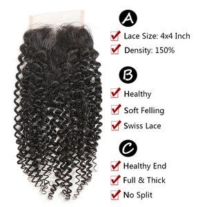 Image 5 - Кудрявые вьющиеся человеческие волосы, пряди с закрытием SOKU 3 шт. бразильские волосы, волнистые пряди с кружевной застежкой, не Реми, наращивание волос