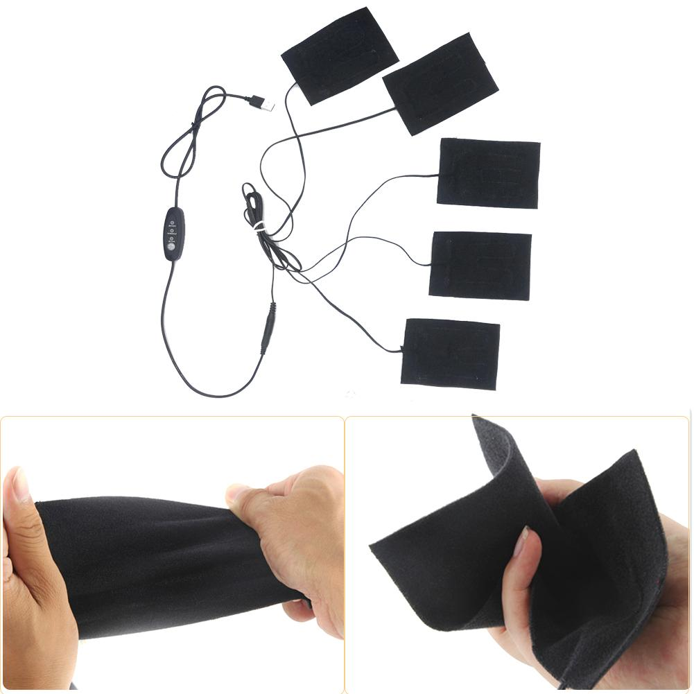 5-in-1 Electric Vest Heater Cloth Jacket USB Thermal Warm Heated Pad Body Warmer