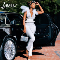 INDRESSM Deep V Bandage Jumpsuit Sleeveless Backless Lace Bow Mesh Front Long Pants Party Bodycon Rompers Jumpsuit 2020 New Wome