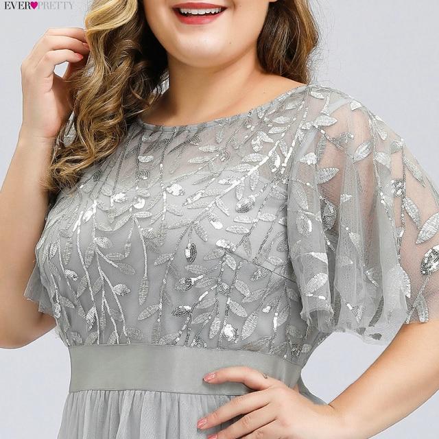 Plus Size Sequined Evening Dresses Long Ever Pretty A-Line O-Neck Tulle Elegant Formal Evening Gowns Vestido Noche Elegante 2020 4