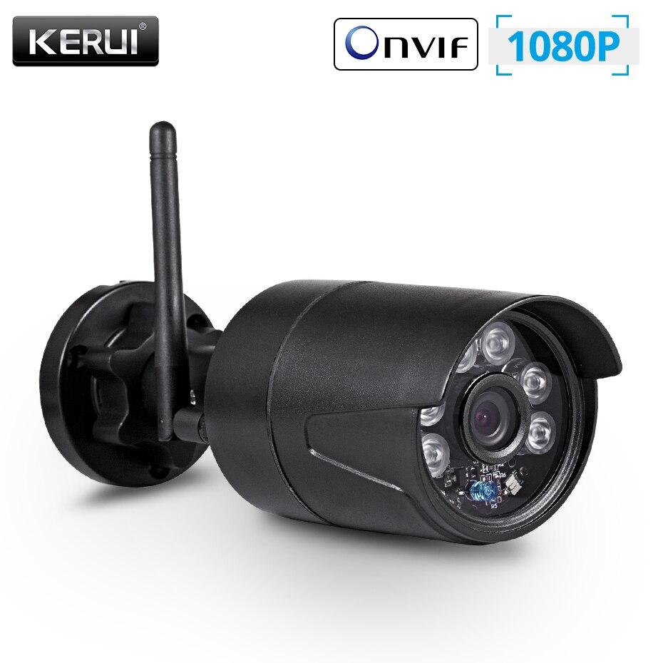 KERUI-cámara IP HD para exteriores, con Wifi, 1080P, impermeable, cámara de seguridad inalámbrica de 2,0 MP, Audio, grabación de tarjeta TF, cámara tipo bala P2P SDETER 1080P Mini cámara inalámbrica WiFi, cámara de seguridad IP CCTV, visión nocturna IR, detección de movimiento, Monitor de bebé P2P