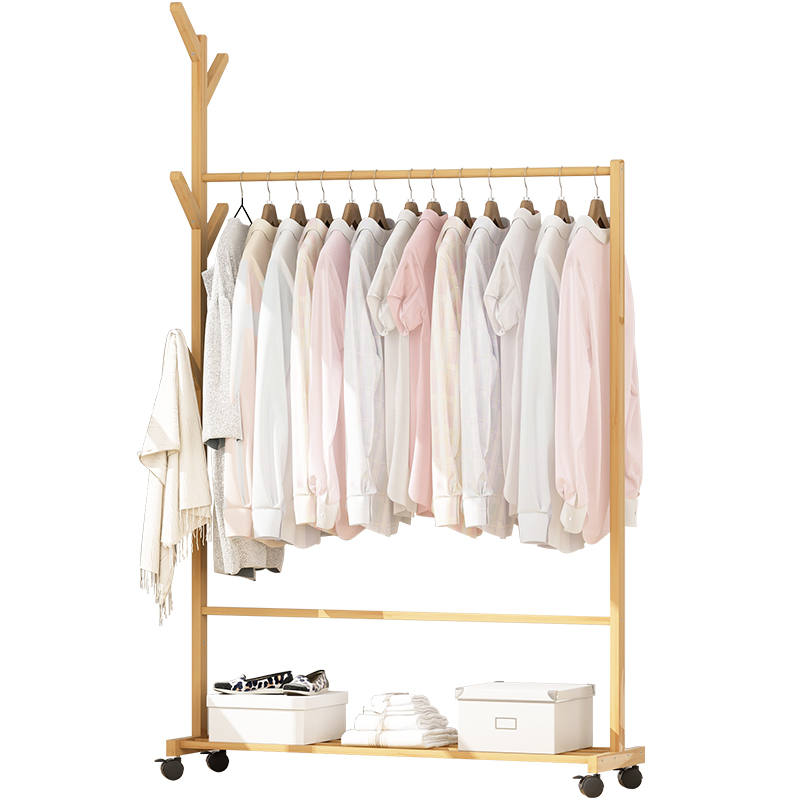 Simple Clothes Rack, Solid Wood Bedroom, Clothes Rack, Floor Room, Clothes Storage Rack, Household Simple And Modern