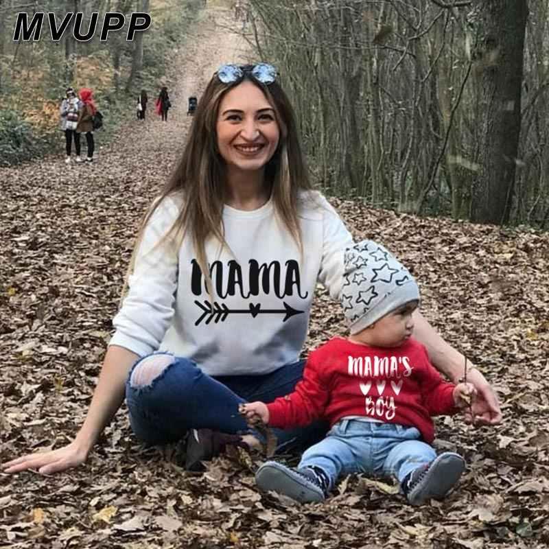 พิมพ์Sonเสื้อผ้าแม่MommyและMeครอบครัวดูเสื้อTเสื้อเด็กแขนยาวเสื้อผ้าSonเด็กชุดแฟชั่น