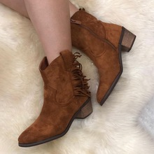 Buy 2019 Spring Autumn Leather Boots Med Chunky Heel Side Zip Pointed Toe Short Ankle Boot Women Casual Plus Size Pumps Shoes directly from merchant!
