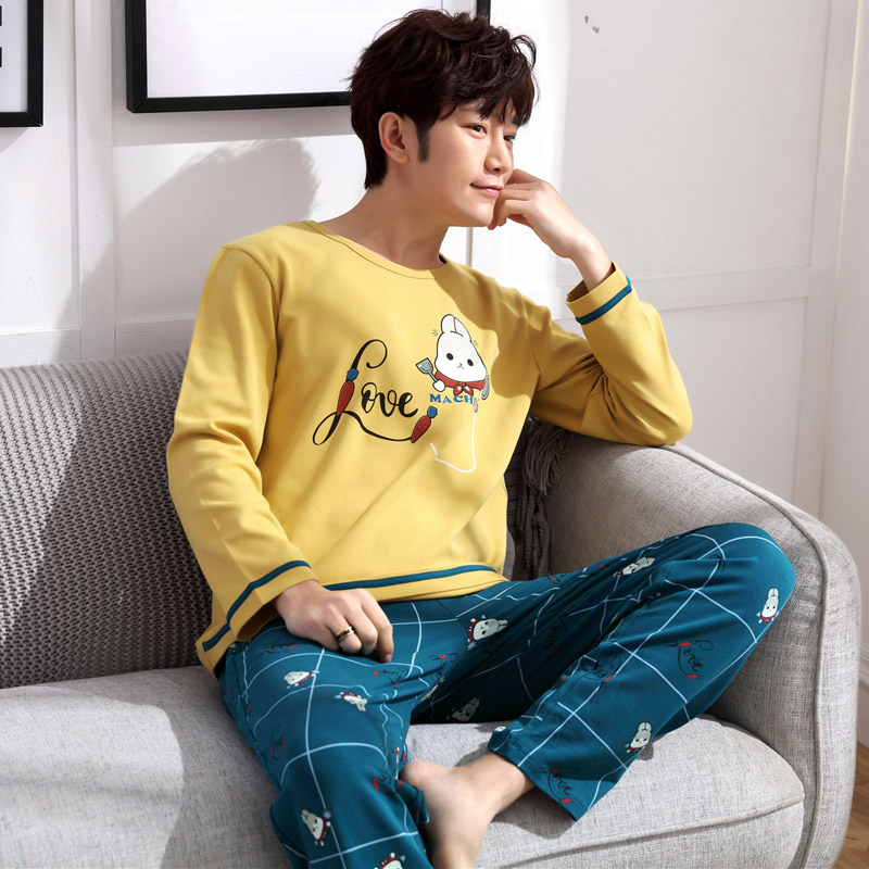 Yidanna Men Long Sleeved Sleep Clothing Long Sleeved Pajamas Set Male Nighty Cartoon Cotton Sleepwear Casual Nightwear Fashion
