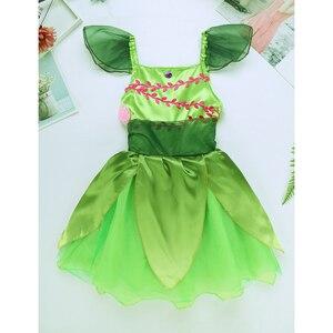 Image 3 - Карнавальный костюм зеленого эльфа для девочек платье пачка с цветами и крыльями для девочек Детские вечерние реквизит для карнавала на Хэллоуин