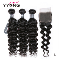 YYONG New for Winter 3 / 4 Milan Wave Bundles With Closure Remy Peruvian Human Hair Weave With Lace Closure Middle Ratio