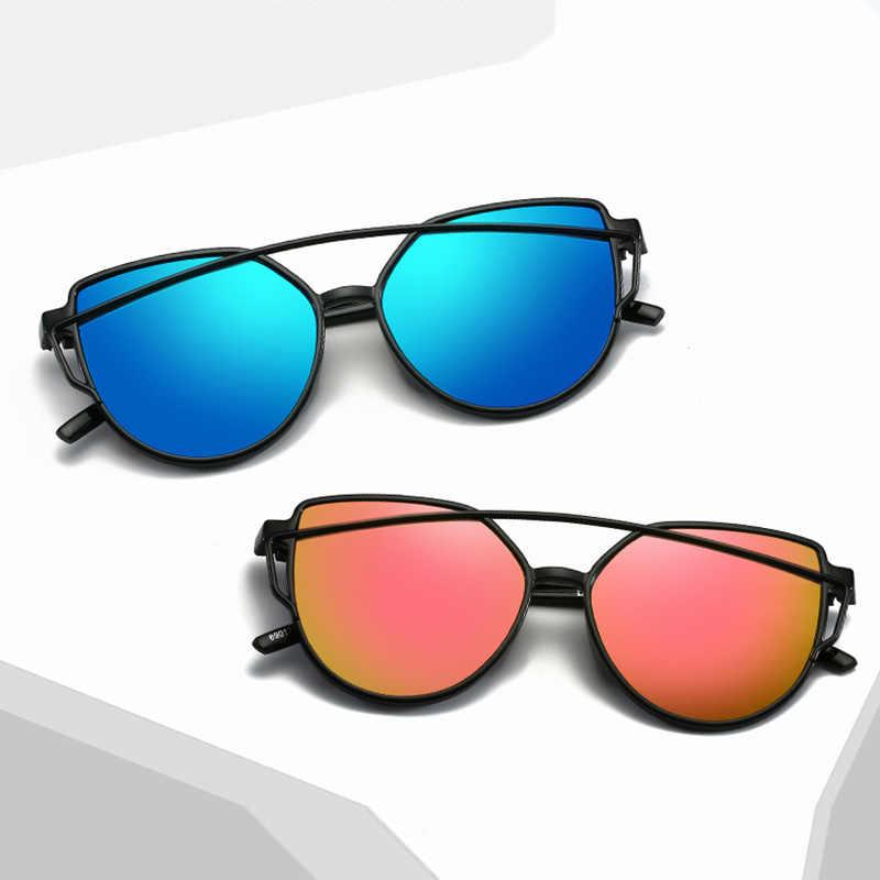 2019 جديد القط العين النظارات الشمسية المرأة العلامة التجارية مصمم الأزياء ظلال نظارات التوأم الحزم مرآة نظارات شمسية ل الإناث UV400