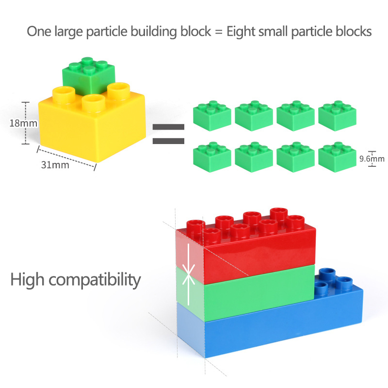 180PCS Big Size Building Blocks Colorful Creative Bulk Bricks Gift Sticker DIY Educational Bricks Assembly Toys For Children in Stacking Blocks from Toys Hobbies
