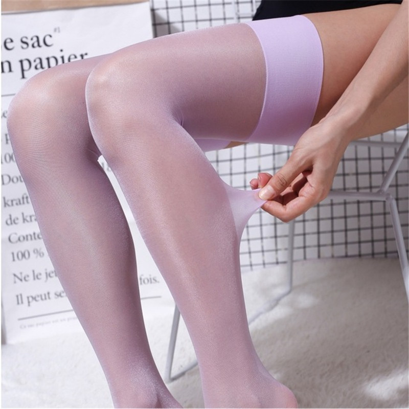 15D Oil Shiny Nylon Stockings Female Erotic Lingerie Sexy Long Stockings For Women Elastic Glitter Thigh High Stockings Medias