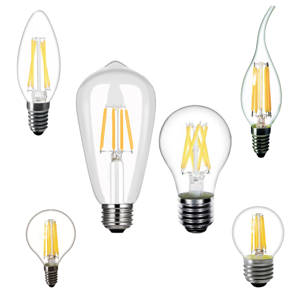 220V LED Bulbs C35 E14 E27 ST64 2W 4W 6W 8W Filament Edison Retro Vintage Candle Light Warm White Living Room LED Bulbs Lamp