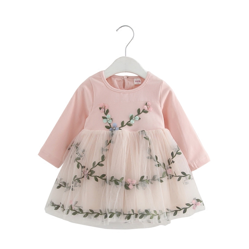 Baby Girl Lace Mesh Princess Dress Flowers Appliques Children Wedding Christening Dress For Kids Party Wear 5