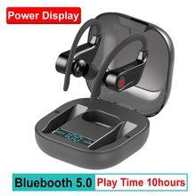 Power HBQ PRO auriculares TWS, inalámbricos por Bluetooth 5,0, Auriculares deportivos estéreo impermeables con funda de 950mah y gancho para la oreja Q62