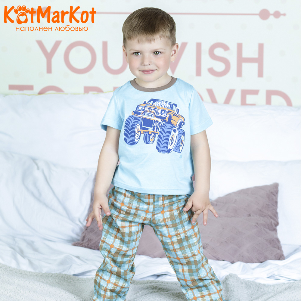Pajama Sets Kotmarkot 16555 children's pajamas for boys and girls sleep t-shirt and shorts pajama pants Cotton Boys shein kiddie toddler girls letter print jumpsuit and floral print pants and headband long sleeve casual suit for girl sets