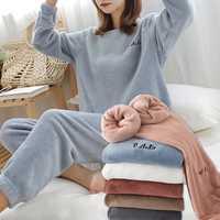 FINETOO-Conjunto de pijama de franela de invierno para mujer, ropa de dormir de lana, ropa de casa, traje de terciopelo grueso y cálido para mujer, sudadera de otoño