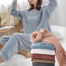 FINETOO kadın kış pazen pijama seti bayan polar pijama pijama gecelik kalın sıcak kadife kadın takım elbise sonbahar kazak