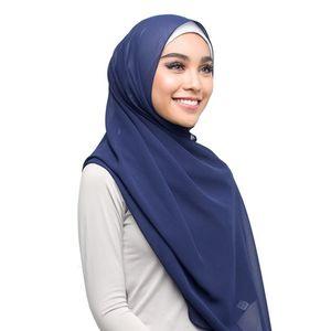 Image 2 - Sıcak 15 adet/grup çok kaliteli düz kabarcık şifon eşarp müslüman başörtüsü kız şapkalar sarar düz renk şal eşarp