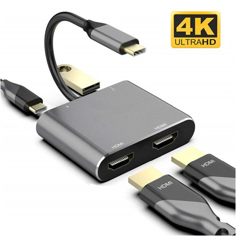 Konwerter 4K typu C na podwójny HDMI USB 3.0 PD 4 w 1 stacja dokująca USB C Hub Adapter Hdmi kabel do telefonu Macbook Laptop TV Monitor
